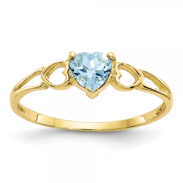 10k Yellow Gold Polished Geniune Aquamarine Birthstone Ring