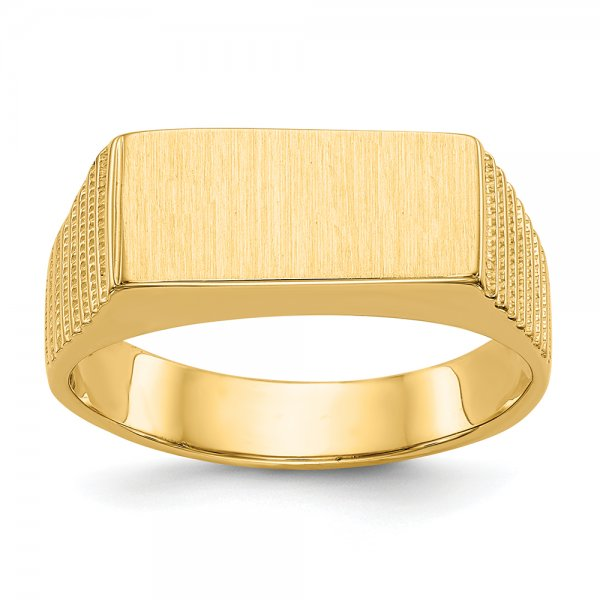 14k Yellow Gold Mens Signet Ring