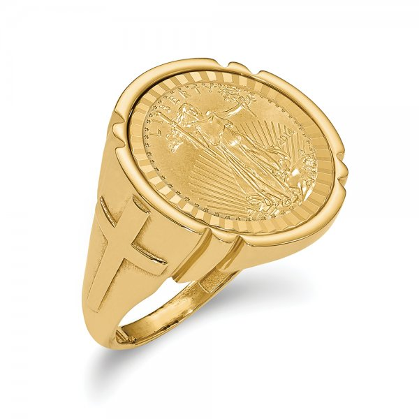 14k Yellow Gold y 1/10AE Coin Ring w/coin
