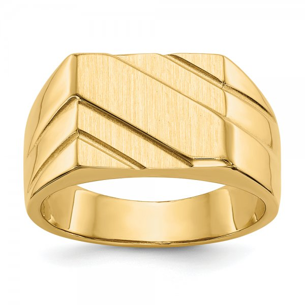 14k Yellow Gold Polished Diagonal Mens Signet Ring