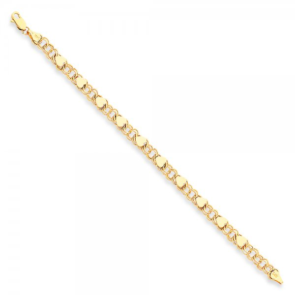 14k Yellow Gold Double Link with Hearts Charm Bracelet