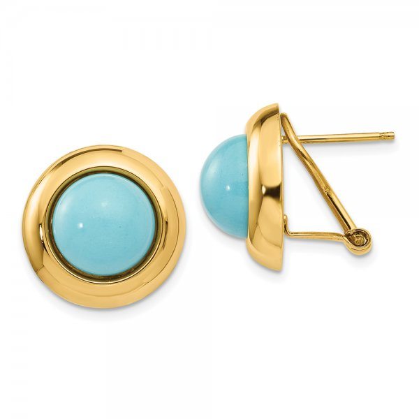 14k Yellow Gold Omega Clip Reconstituted Turquoise Earrings