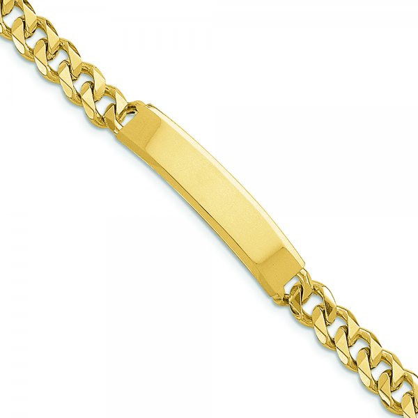 14k Yellow Gold Hand-polished Traditional Link ID Bracelet