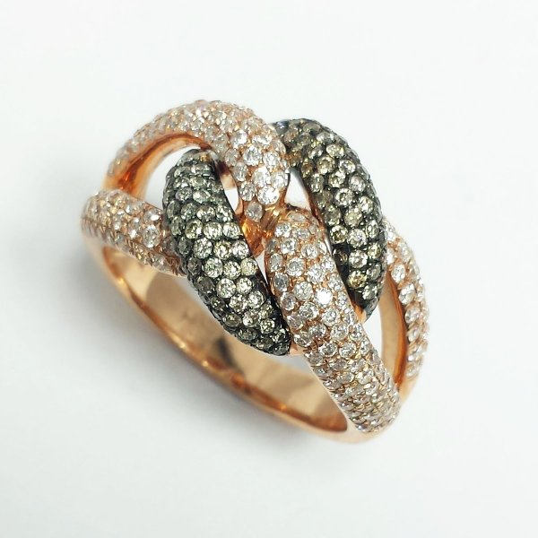 14k Rose Gold 1.5 CTW Chocolate & White Diamond KNOT RING