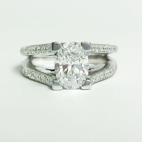 14k White Gold 1.2 CT Oval Diamond SI/D EGL Cert Floating Solitaire Engagement Ring 2.0 CTW
