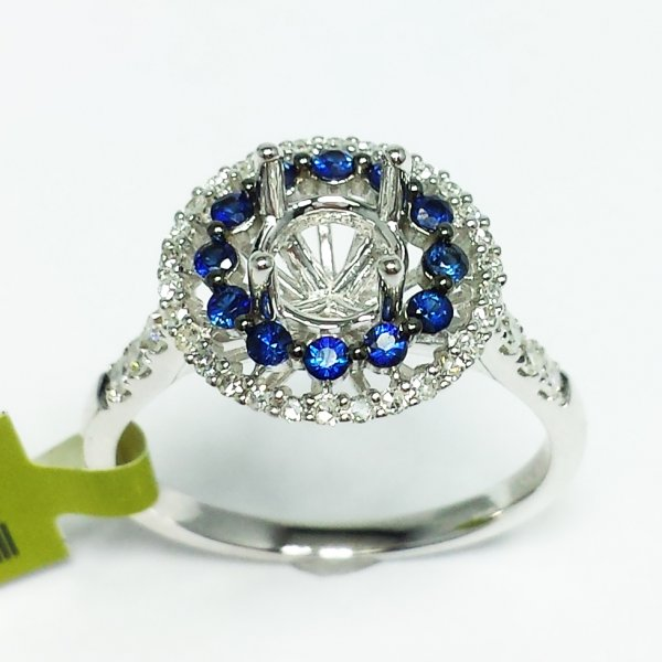 14k White Gold Blue Sapphire Diamond Round Double HALO Semi Mount ENGAGEMENT RING 0.63 ctw