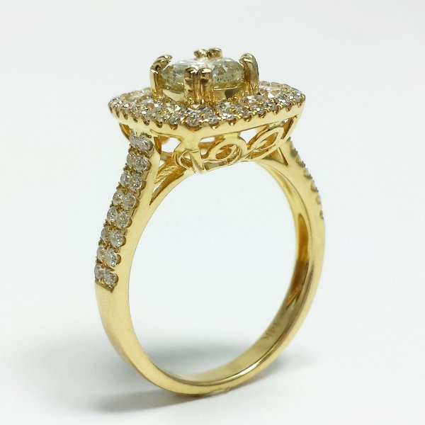 14k Yellow Gold 1.85 CTW Square Halo Diamond Engagement Ring