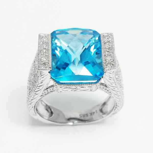 14k White Gold 8.59 CTW Emerald Cut Blue Topaz & Round Diamond Bridge Cocktail Ring