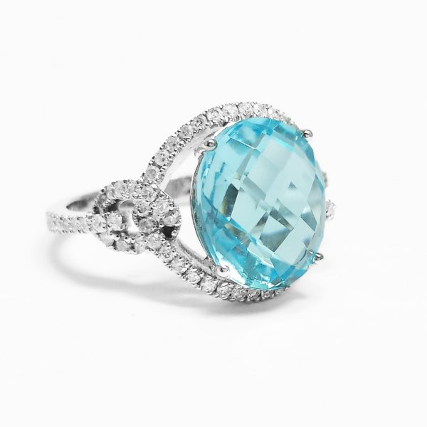 14k White Gold 5.60 CT Oval Checkerboard Blue Topaz & Diamond Halo Ring 6.14 CTW