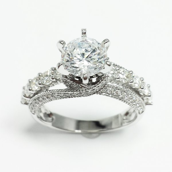 14k White Gold 1 CT Diamond Solitaire ENGAGEMENT RING SEMI MOUNT