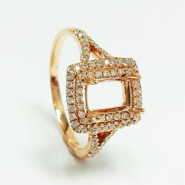 14k Rose Gold Emerald Cut Semi Mount Diamond Double HALO ENGAGEMENT RING