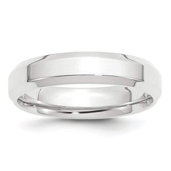 Platinum Polished Beveled Edge Wedding Band