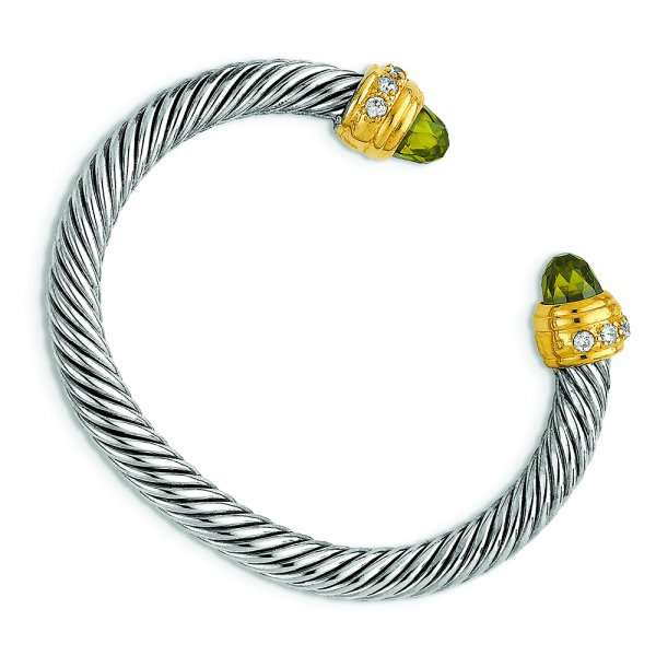 Sterling Silver Gold -Plated Antique CZ Bangle