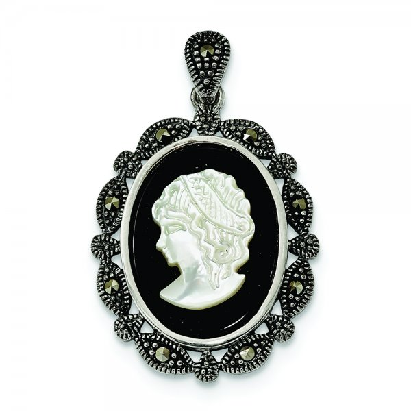 Sterling Silver Antiqued Marcasite Black Agate & MOP White Cameo Pendant