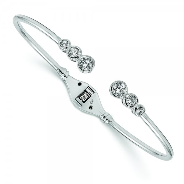 Sterling Silver Rhodium-plated CZ Hinged Bangle Cuff Bracelet