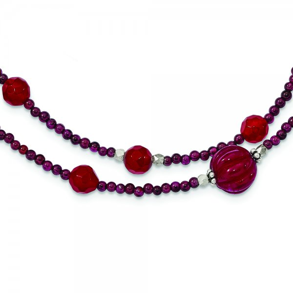 SS Red Avent./Garnet/Red Jade/Red Quartz 2-Strand Necklace with 2-in. Extension