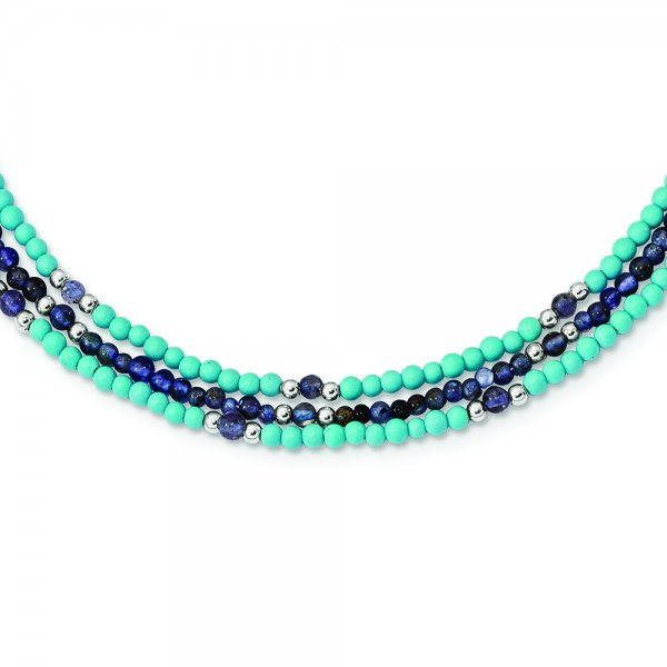 SS Iolite/Lapis Quartz/Recon. Turquoise 3-Strand Necklace with 2-in. Extension