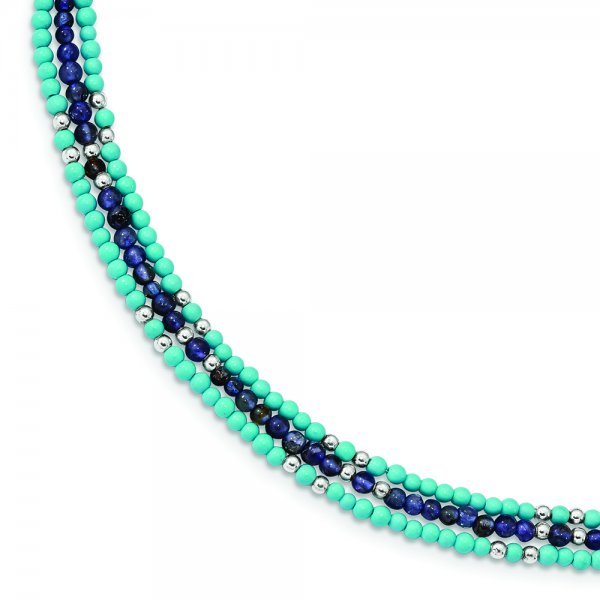 SS Iolite/Lapis Quartz/Recon. Turquoise 3-Strand with 1-in Extension. Bracelet