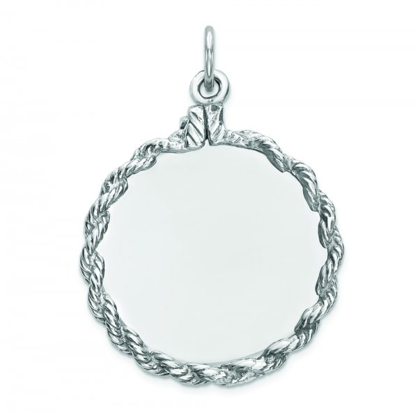 Sterling Silver Engraveable Round with Rope Polished Front/Back Disc