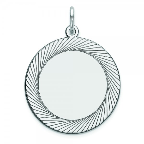 Sterling Silver Engraveable Round Polished Front/Satin Back Disc Charm