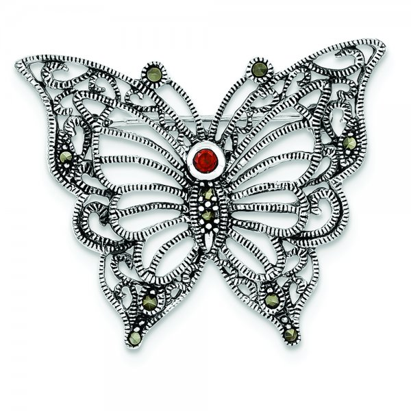 Sterling Silver Rhodium-plated Marcasite Red CZ Butterfly Pin