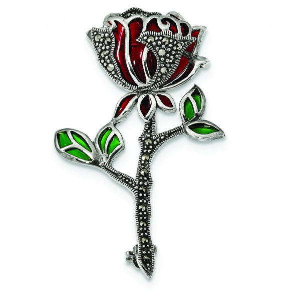 Sterling Silver Antiqued Red & Green Epoxy Marcasite Flower Pin