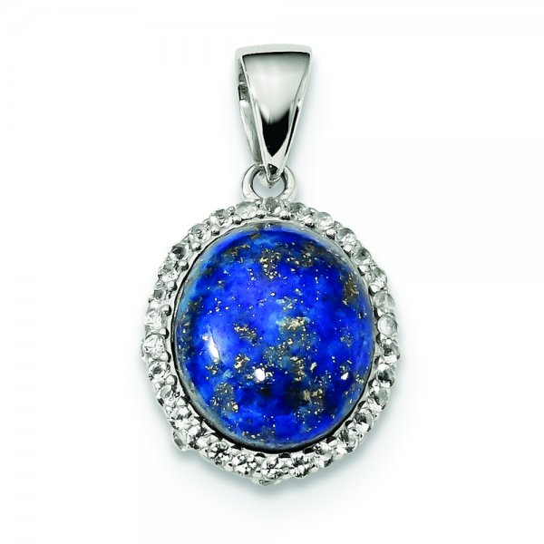Sterling Silver Rhodium-plated Polished w/Lapis & White Topaz Pendant