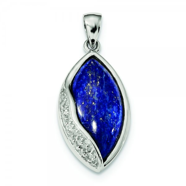 Sterling Silver Rhodium-plated Polished with CZ and Lapis Pendant