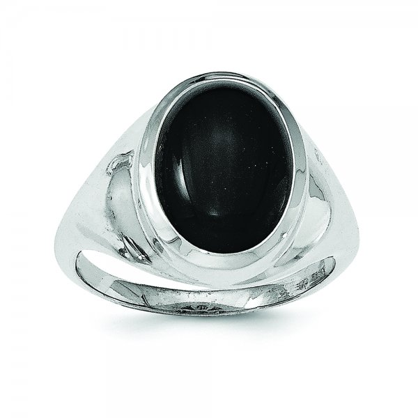 Sterling Silver Rhodium-plated Black Agate Ring