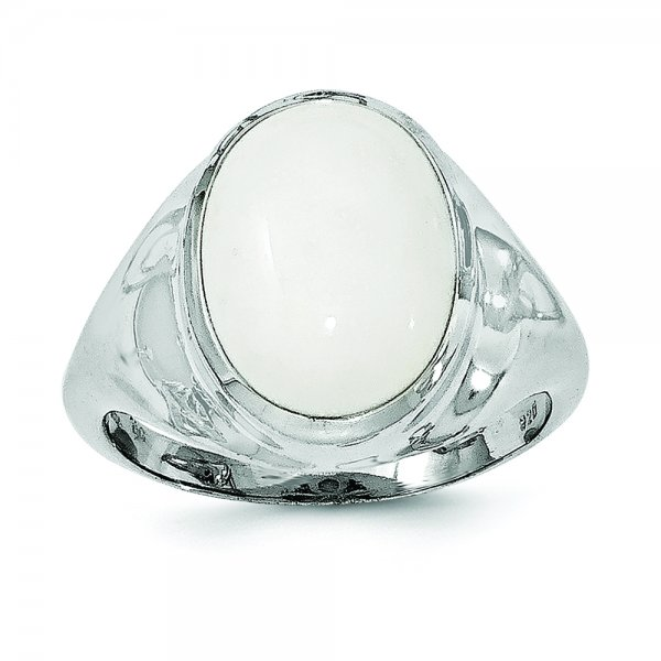 Sterling Silver Rhodium-plated White Agate Ring
