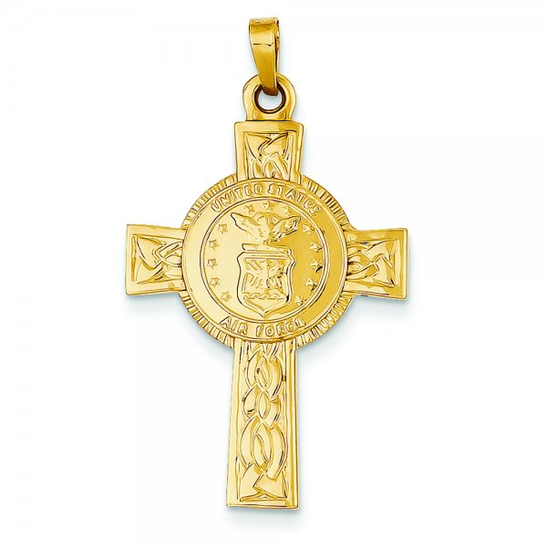 14k Yellow Gold Cross w/Air Force Insignia Pendant