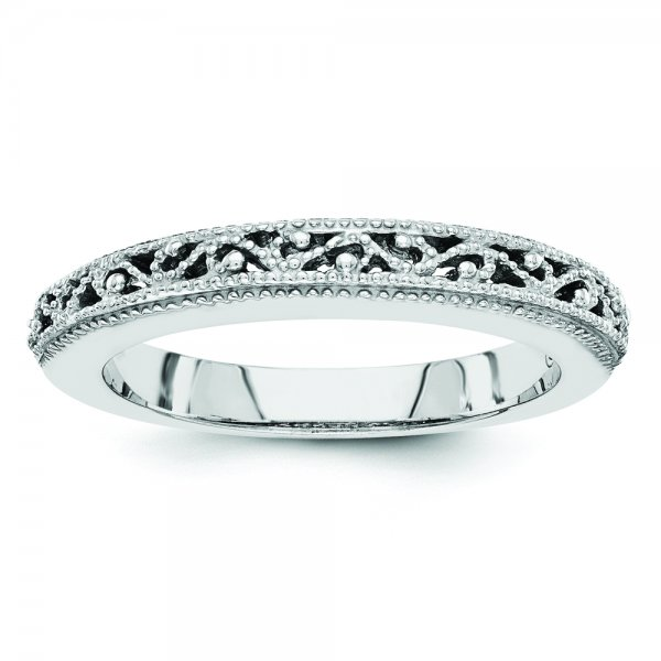 14k White Gold Filigree Band