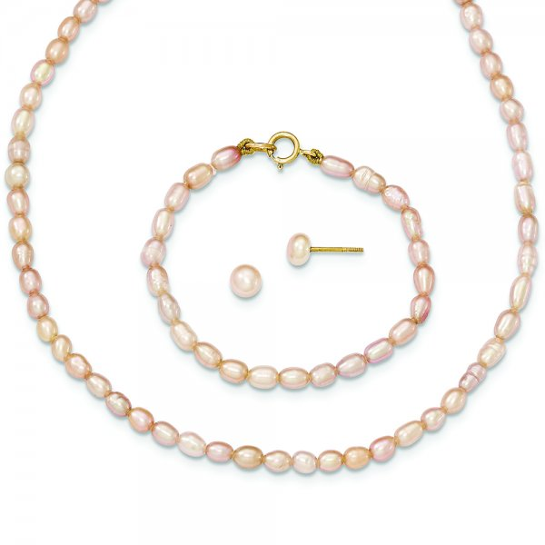 """14k Yellow Gold Pink FW Cultured Pearl 12"""""""" Necklace, 5"""""""" Bracelet & Earring Set"""