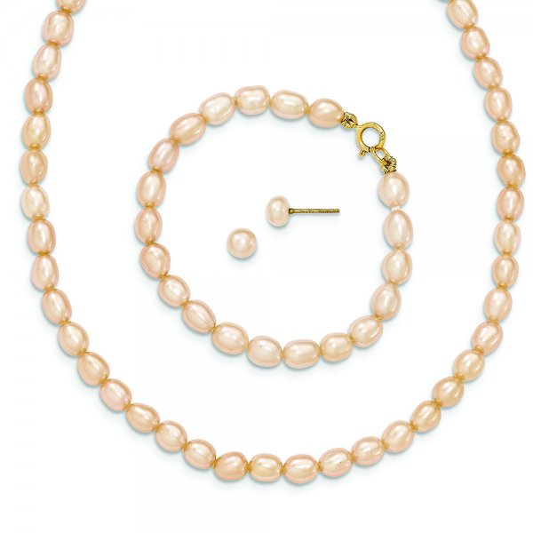 """14k Yellow Gold Pink FW Cultured Pearl 14"""""""" Necklace, 5"""""""" Bracelet & Earring Set"""