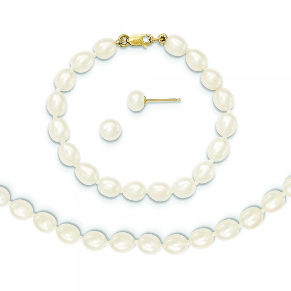 14k Yellow Gold FW Cultured Pearl White 5in Bracelet 14in Necklace Earring Set