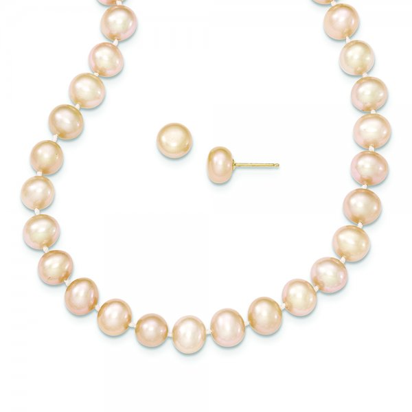 14k Yellow Gold FW Cultured Pearl Necklace and Button Stud Set