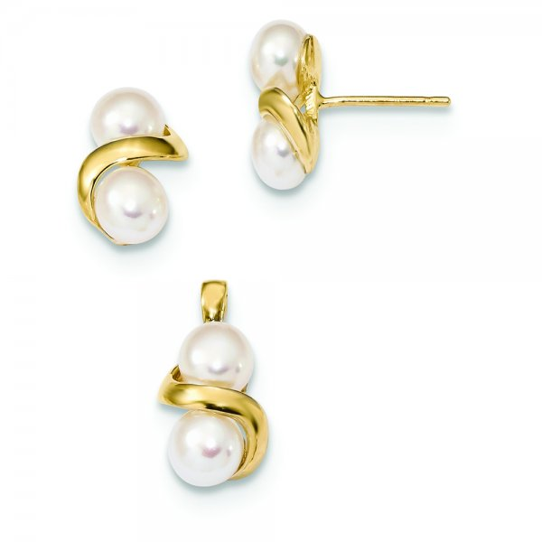 14k Yellow Gold White Button Double FWC Pearl Earring and Pendant Set