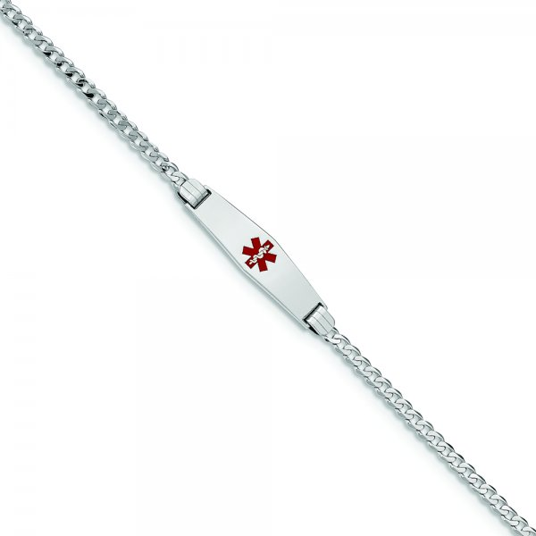 14k White Gold Medical Soft Diamond Shape Red Enamel Flat Curb Link ID Bracelet