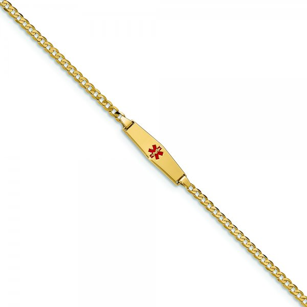 14k Yellow Gold Medical Soft Diamond Shape Red Enamel Baby ID Curb Bracelet