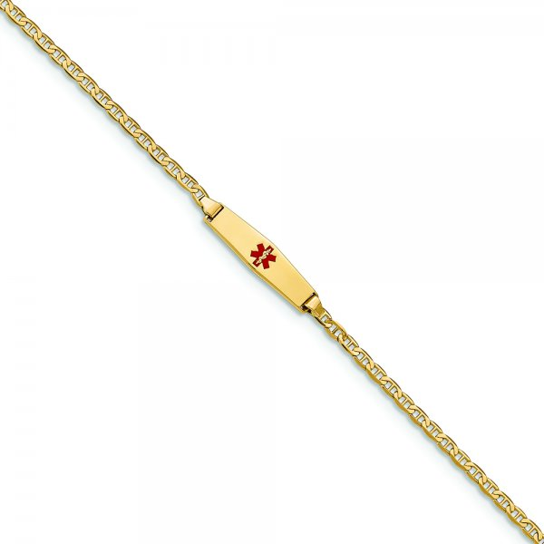 14k Yellow Gold Medical Soft Diamond Shape Red Enamel Flat Anchor Link ID Bracelet