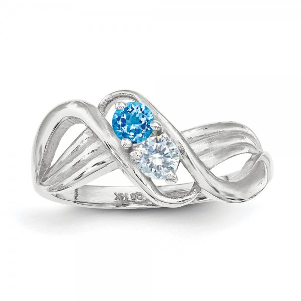 Sterling Silver Rhodium-plated Family Jewelry 2-Stone Crossover Ring