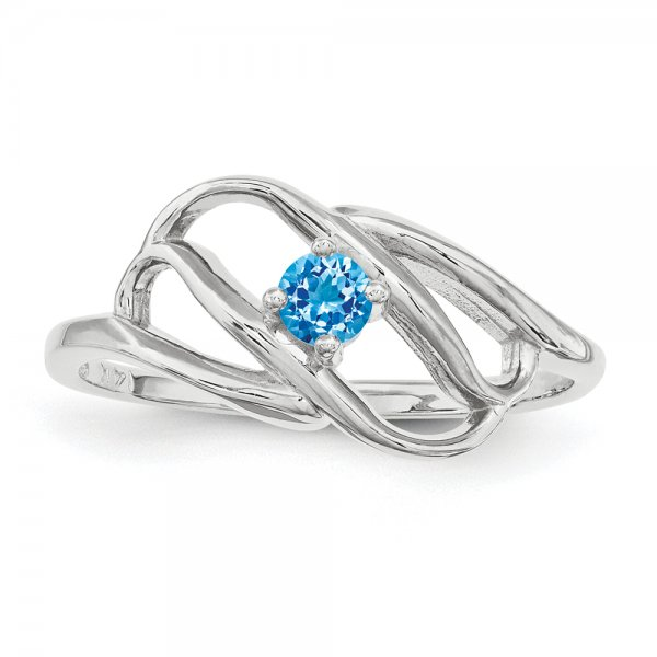 Sterling Silver Rhodium-plated One-Stone Family Jewelry Ring