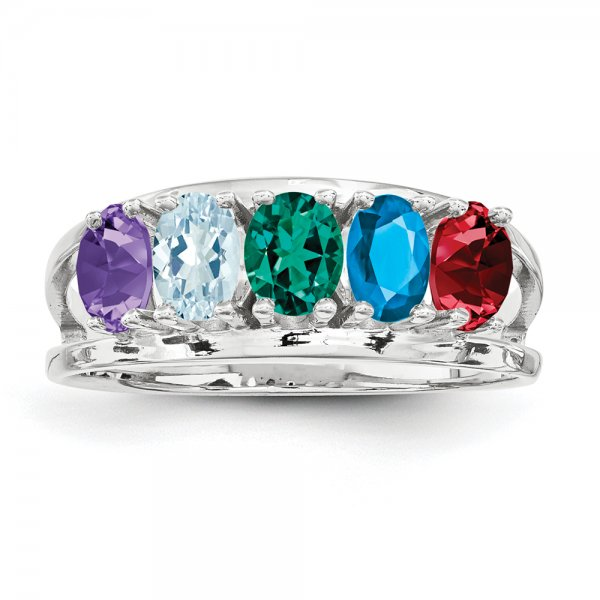 Sterling Silver Rhodium-plated Family Jewelry Oval 5-Stone Ring