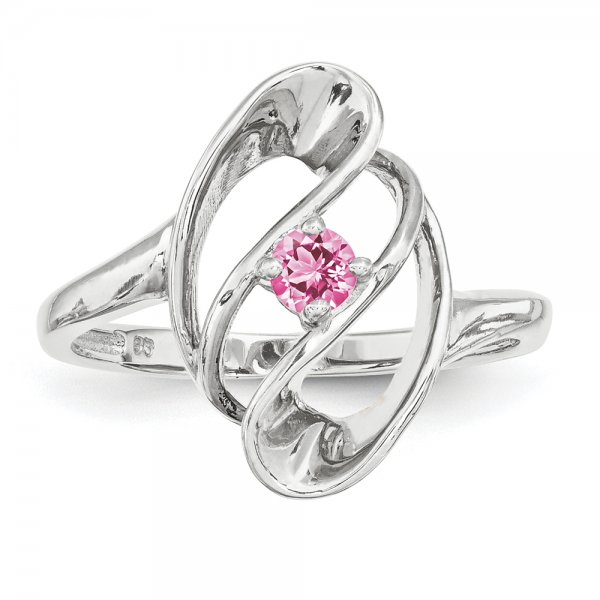 Sterling Silver Rhodium-plated Family Jewelry Fancy One-Stone Ring