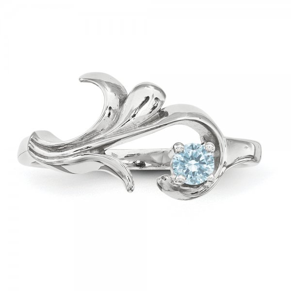 Sterling Silver Rhodium-plated Family Jewelry 1-Stone Flourish Ring