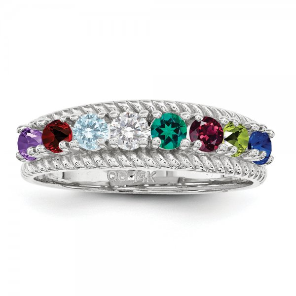 Sterling Silver Rhodium-plated Family Jewelry 8-Stone Braided Ring