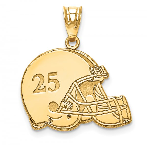 14k Yellow Gold Laser Football Helmet Number And Name Pendant