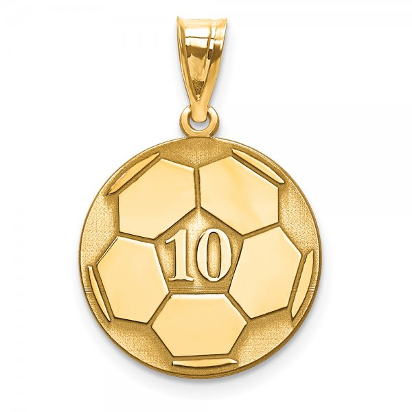 14k Yellow Gold Laser Soccer Number And Name Pendant
