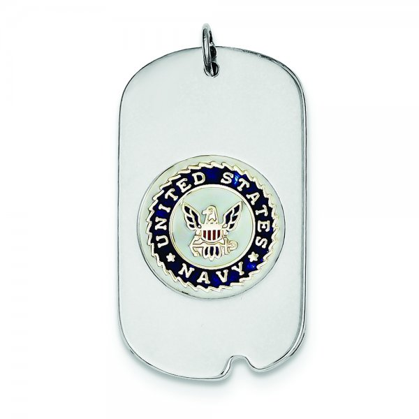 Sterling Silver Rhod-plated US Navy Dog Tag