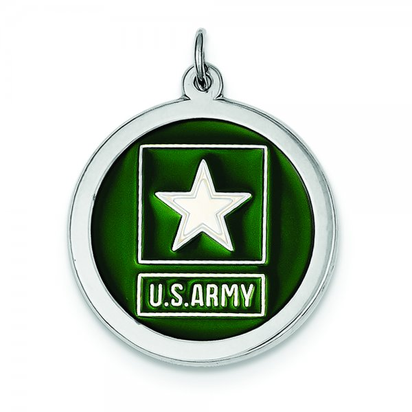 Sterling Silver Rhod-plated US Army Star Disc